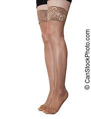bas, jambes, nylon, femme