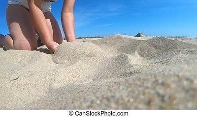 bas, lent, haut, sable, poignée, angle., paume, motion., ...