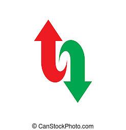 bas, logo, flèche, haut