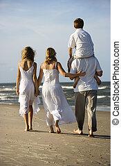 bas, marche, plage., famille