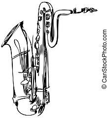 bas, muzyczny instrument, mosiądz, saksofon