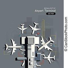 bas, occupé, aérien, sommet, avions, terminal, aéroport, vue