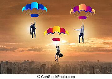 bas, parachutes, tomber, professionnels