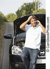 bas, pays, chauffeur, route, cassé