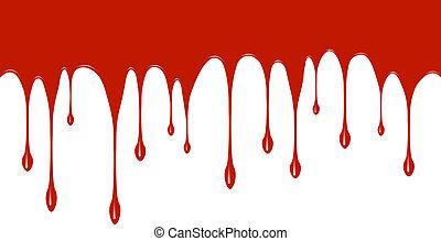 bas, peinture, égouttement, rouges