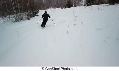 bas, pente, aller, skieur