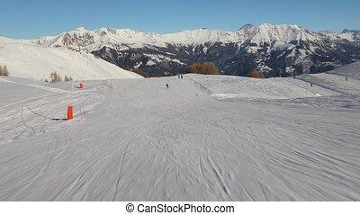bas, pente, ski