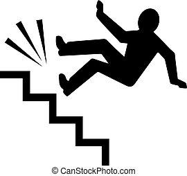 bas, personne, tomber, escalier