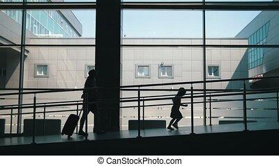 bas, peu, fille, fenêtre, grand, aéroport, aller, fond,...