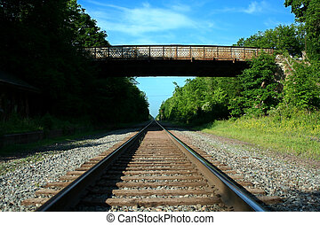 bas, pont, pistes, regarder, chemin fer