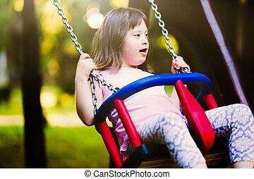 bas, portrait, girl, syndrome, jeune