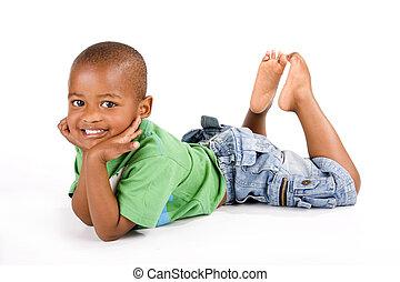 bas, pose, adorable, garçon noir