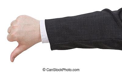 bas, -, pouces, geste, main