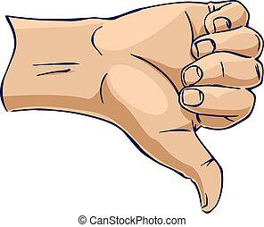 bas, projection, côté, pouce, mains