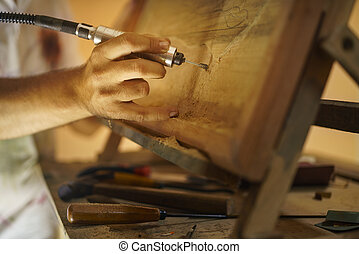 bas, relief-2, kunstenaar, houten, het beitelen, schilder, beeldhouwer
