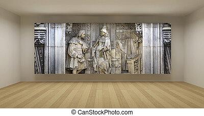 bas-relief, art ancien, salle, concept, illustration, image...