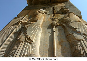 Bas-Relief on Xerxes' gateway (gate of all nations) at Persepolis, Iran
