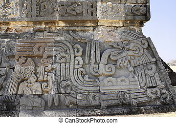 Bas-relief carving with of god Quetzalcoatl, Xochicalco,...