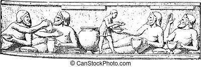 bas-relief, de, les, temple, de, assos, (the, louvre), vendange, engraving.