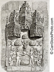 Bas-relief - Old illustration of an architectonic detail...