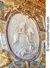 Bas relief king Louis XIV at Versailles Palace.