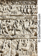 Bas-relief on the Arch of Galerius - Ancient bas-relief on...