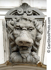 Bas-relief the Lion - an architectural detail of fence in...