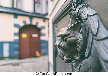 Bas-relief with a fountain on the wall of a house in Riga