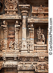 Bas reliefes in Hindu temple. Sri Ranganathaswamy Temple....