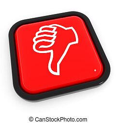 bas, rouges, button., geste, pouces