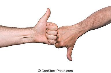 bas, signes, pouces haut, main