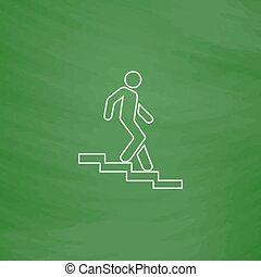 bas, symbole, informatique, escalier