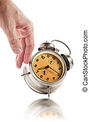 bas, vendange, main, frappement, horloge