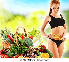 basado, vegetales, dieta, crudo, dieting., equilibrado,...