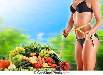basado, vegetales, dieta, crudo, fruits, equilibrado,...