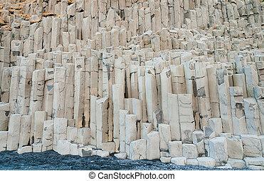 Basalt rock columns at Reynisfjara Iceland