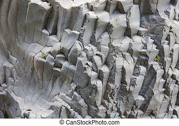 Basalt rock formations at Gole Alcantara on Sicily, Italy