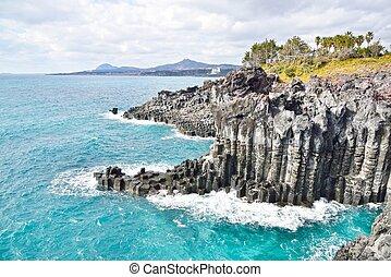 basaltic columnar joint coast in Jung Mun in Jeju Island