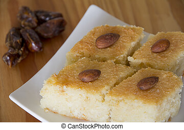 Basbousa on a Plate with Dates on a Table