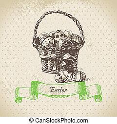 bascket., pasen, illustratie, achtergrond, ouderwetse , hand, getrokken