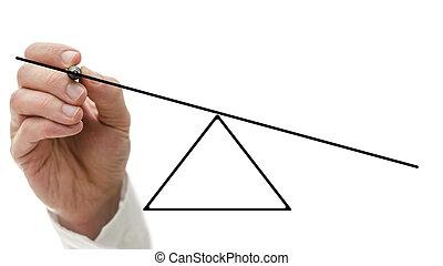 bascule, déséquilibre, projection, vide
