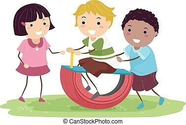 bascule, gosses, stickman, pneu, illustration