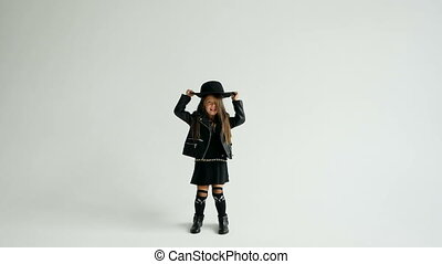 bascule, peu, sur, style, girl, chapeau, jets