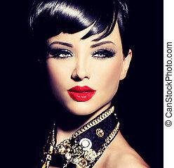 bascule, style, mode, beauté, court, brunette, hair., modèle, girl