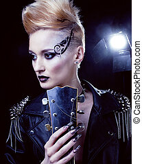 bascule, style, mode, hairstyle., punk, femme, portrait., modèle, girl