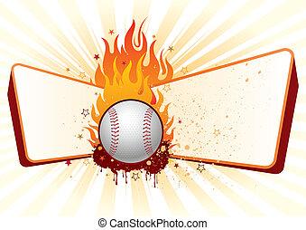 base-ball, à, flammes