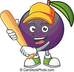 base-ball, étoile, pomme, caractère, jouer, mascotte, dessin animé