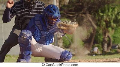 base-ball, allumette, balle, pendant, joueur, attraper
