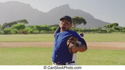 base-ball, allumette, balle, pendant, lancement, joueur