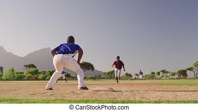 base-ball, allumette, base, pendant, courant, joueur